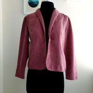 Vintage Faux Suede Blazer Jacket Blush Pink